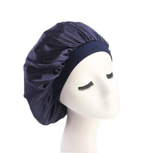 Navy Wide Band Silky Bonnet - Taelor Boutique