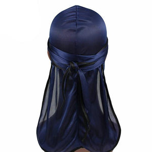 Navy Blue Silk Durag w/ Black Lining - Taelor Boutique
