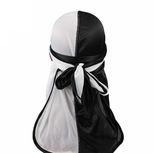 Black & White Two Tone Silky Durag - Taelor Boutique