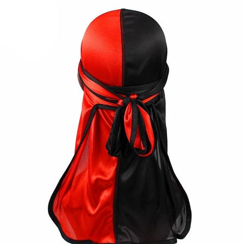 Red & Black Two Tone Silky Durag - Taelor Boutique