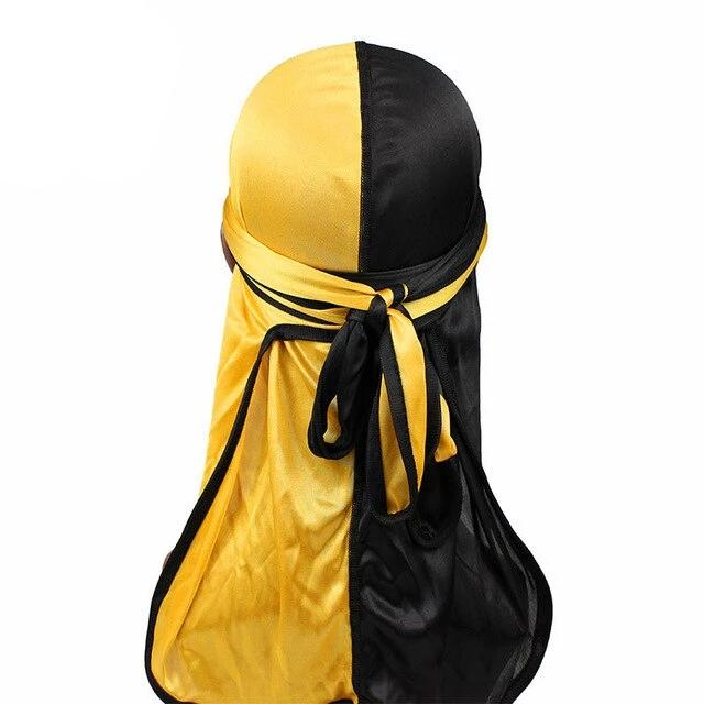 Yellow & Black Two Tone Silky Durag - Taelor Boutique