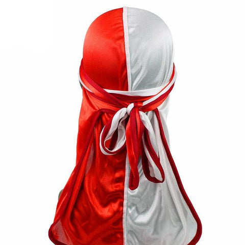 Red & White Two Tone Silky Durag - Taelor Boutique