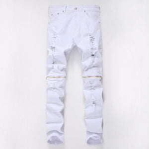 White Skinny Ripped Jeans with Knee Zipper - Taelor Boutique
