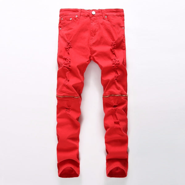 Red Skinny Ripped Jeans with Knee Zipper - Taelor Boutique