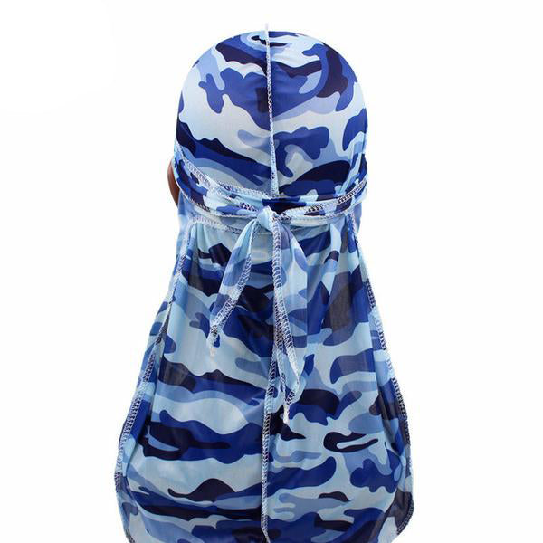 Silk Blue Camo Durag - Taelor Boutique
