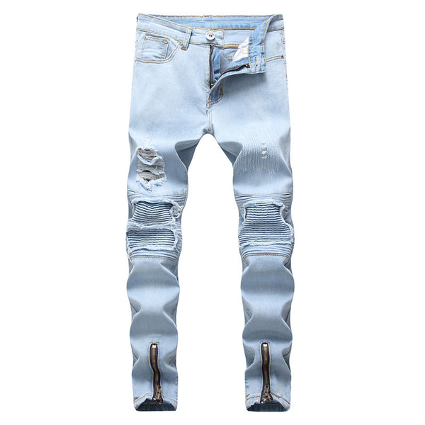 Blue Destroyed Knee Jeans With Ankle Zipper - Taelor Boutique