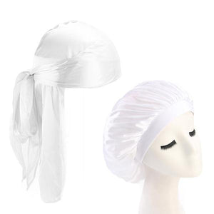 White Silk Durag & Bonnet Set - Taelor Boutique