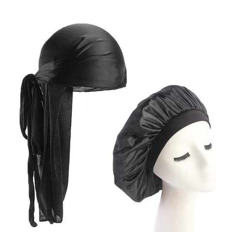 Black Silk Durag & Bonnet Set - Taelor Boutique