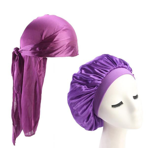 Purple Silk Durag & Bonnet Set - Taelor Boutique