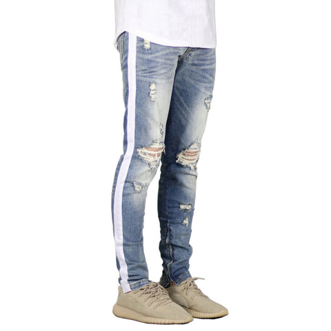 Light Blue Side Stripe Ripped Jeans - Taelor Boutique