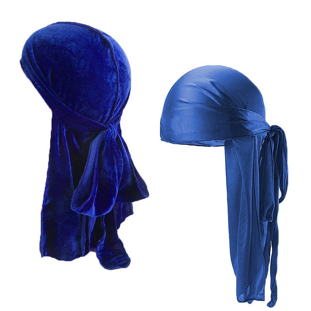 Blue Velvet & Silk Durag Set - Taelor Boutique