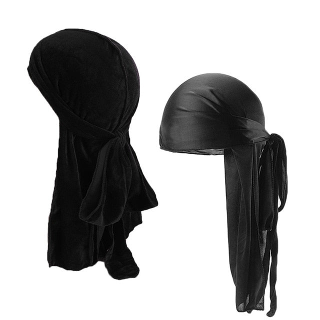 Black Velvet & Silk Durag Set - Taelor Boutique