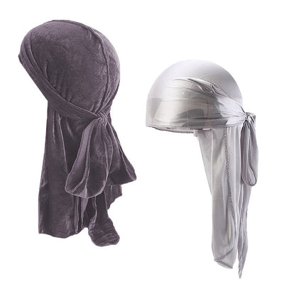 Grey Velvet & Silk Durag Set - Taelor Boutique