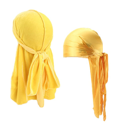 Yellow Velvet & Silk Durag Set - Taelor Boutique
