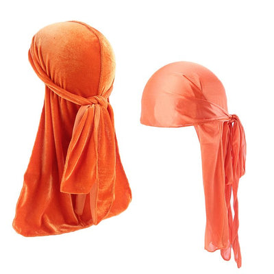 Orange Velvet & Silk Durag Set - Taelor Boutique