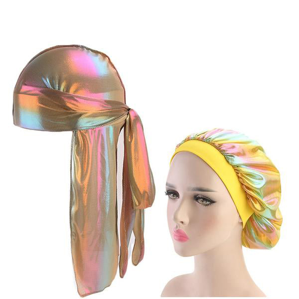 Multicolour #5 Shiny Silk Durag & Bonnet Set - Taelor Boutique