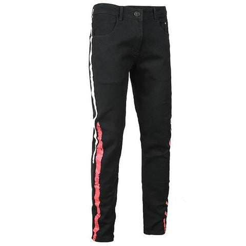 Black Colored Red & White Stripe Jeans - Taelor Boutique