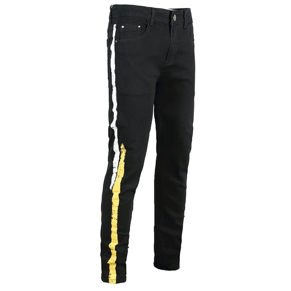Black Colored Yellow & White Stripe Jeans - Taelor Boutique