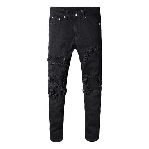 Black Ribbed Patchwork Jeans