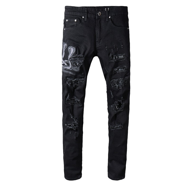 Black Snake Embroidery Distressed Jeans - Taelor Boutique