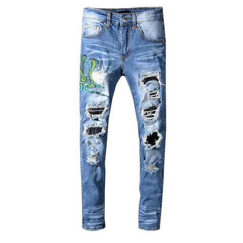 Blue Snake Embroidery Distressed Jeans - Taelor Boutique