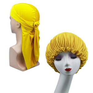 Yellow Velvet Durag & Bonnet Set - Taelor Boutique
