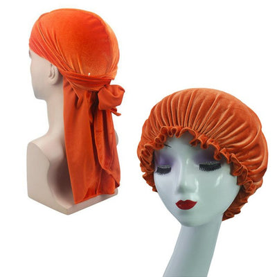 Orange Velvet Durag & Bonnet Set - Taelor Boutique