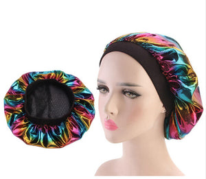 Multicolour #1 Shiny Silk Bonnet - Taelor Boutique