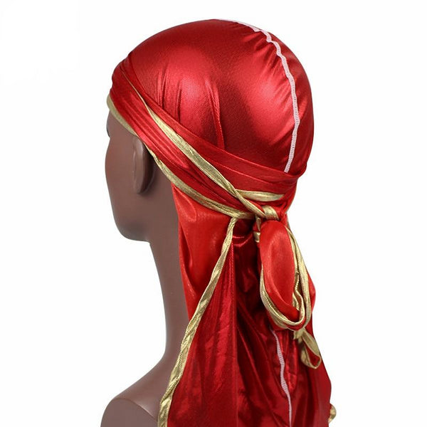 Red Silky Durag w/ Gold Lining - Taelor Boutique