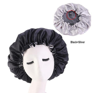 Black Silk Reversible Bonnet - Taelor Boutique
