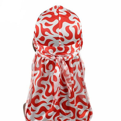 Red Floral Fire Silk Durag - Taelor Boutique
