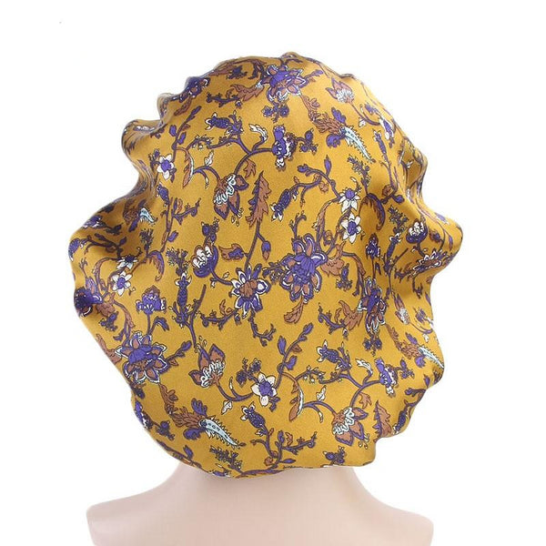 Gold Silky Floral Durag and Bonnet Set - Taelor Boutique