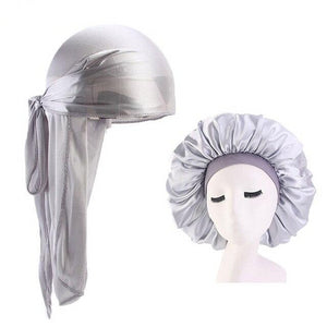 Extra Large Silver Silky Durag & Durag & Wide Band Bonnet Set - Taelor Boutique