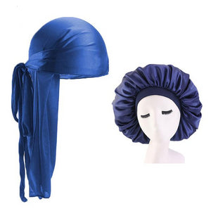 Extra Large Blue Silky Durag & Wide Band Bonnet Set - Taelor Boutique