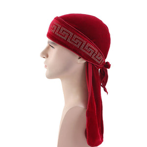 Red Rhinestone Velvet Durag - Taelor Boutique