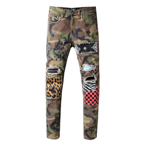 Camo Art Patchwork Jeans - Taelor Boutique