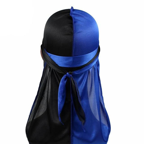 Blue & Black Two Tone Silky Durag - Taelor Boutique