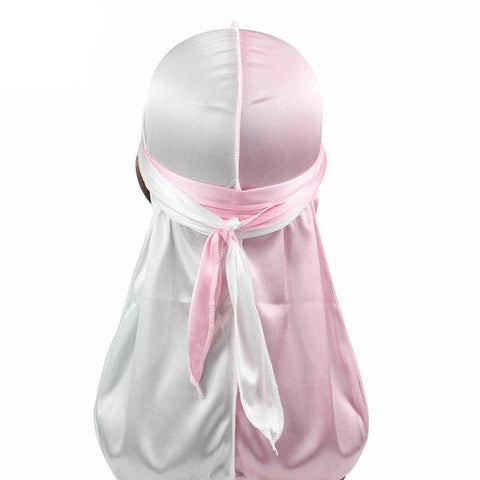 Pink & White Two Tone Silky Durag - Taelor Boutique