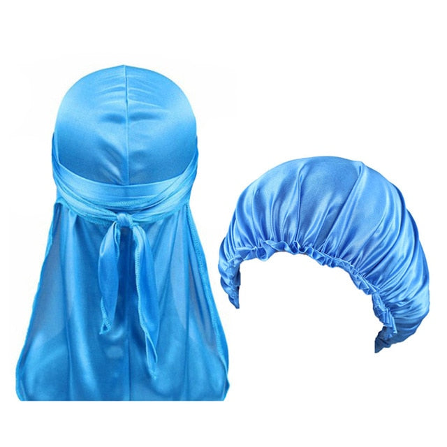 Sky Blue Silk Durag & Bonnet Set - Taelor Boutique