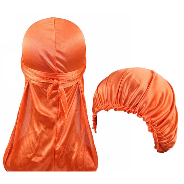 Orange Silk Durag & Bonnet Set - Taelor Boutique
