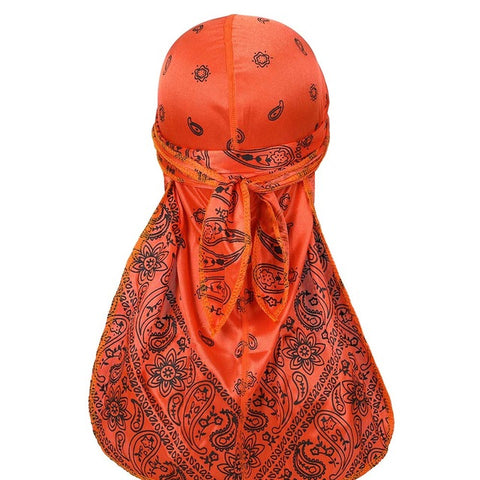 Orange Silky Bandana Durag - Taelor Boutique