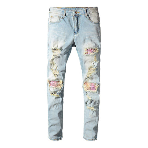 Blue Pink Bandana Patchwork Jeans - Taelor Boutique