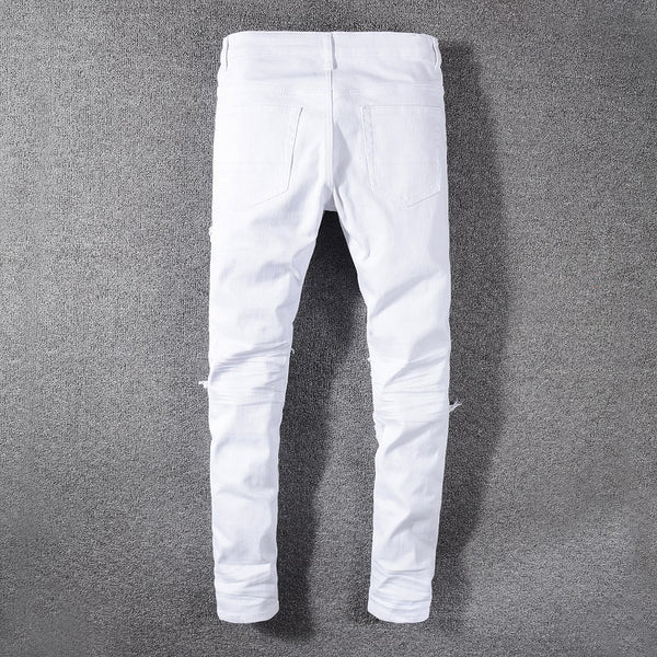White Ribbed Knee Jeans - Taelor Boutique