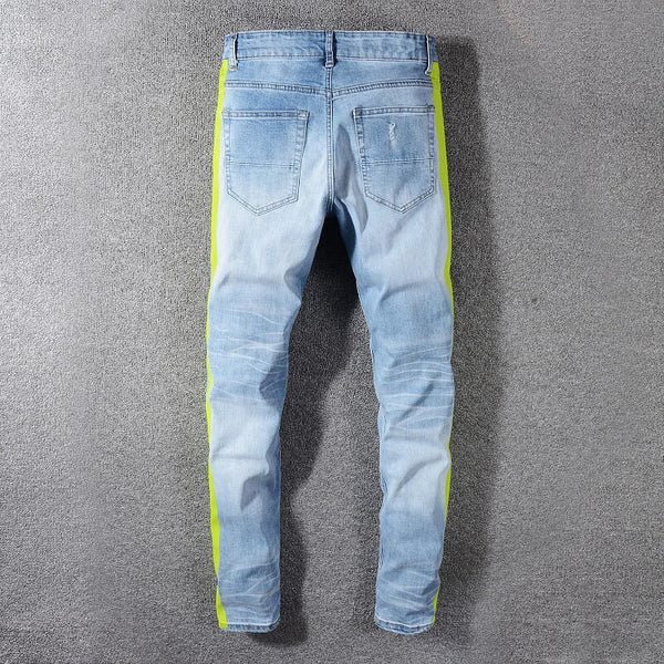 Blue Ripped Neon Yellow Side Stripe Jeans - Taelor Boutique