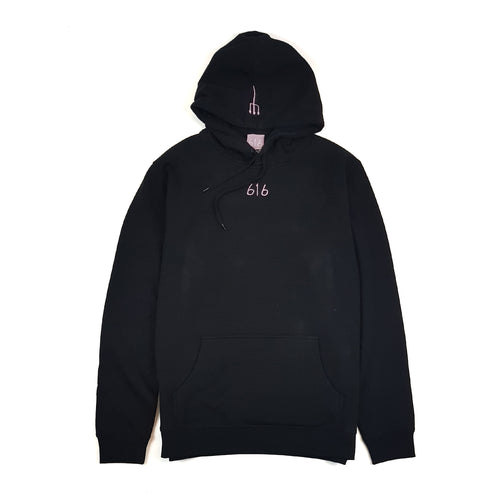 616 DVLGNG CENTRE HOODIE (PINK ON BLACK) (AVAILABLE FOR 72 HOURS ONLY) (MTO)