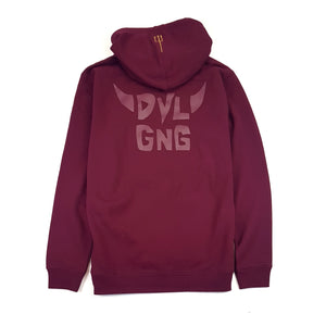 616 DVLGNG CENTRE HOODIE (GOLD ON BURGUNDY)