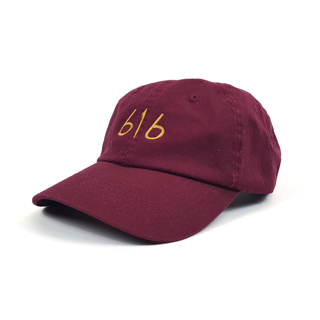 616 DVLGNG STEP DAD CAP (GOLD ON BURGUNDY)