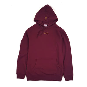 616 DVLGNG CENTRE HOODIE (GOLD ON BURGUNDY) (AVAILABLE FOR 72 HOURS ONLY) (MTO)