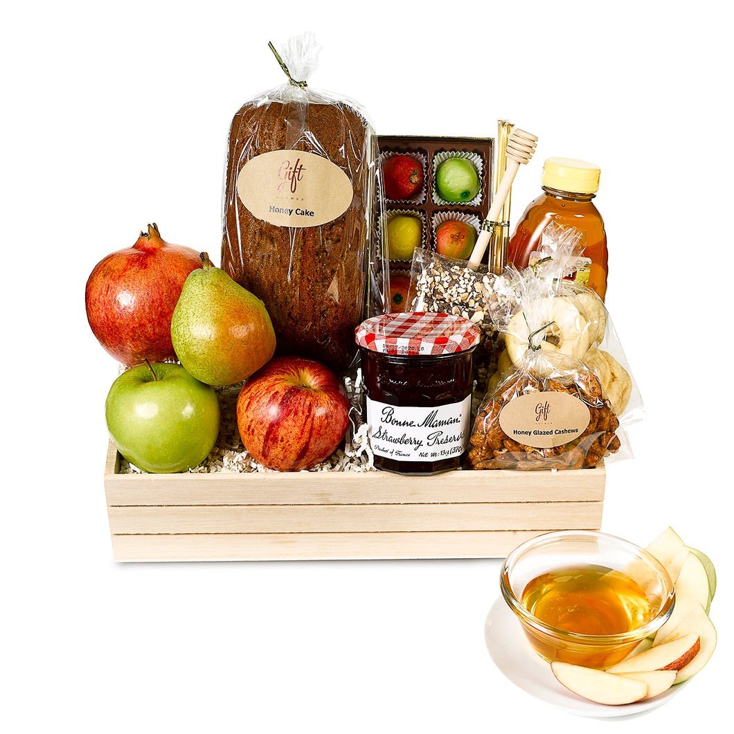Rosh Hashanah Apple & Honey Wooden Crate