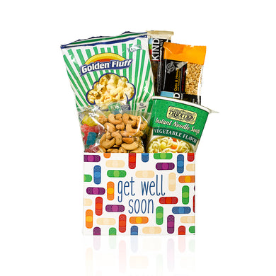 A get well gift box filled with foods by Gift Kosher